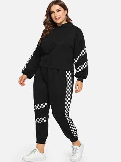 Plus Contrast Plaid Hooded Top With Pants