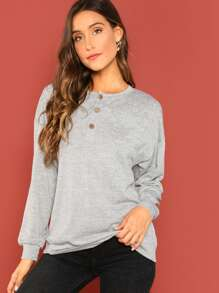 Button Front Solid Pullover