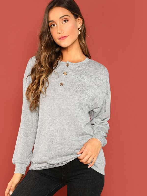 Button Front Solid Pullover by Shein