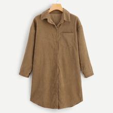 SHEIN | Corduroy Drop Shoulder Denim Shirt | Goxip