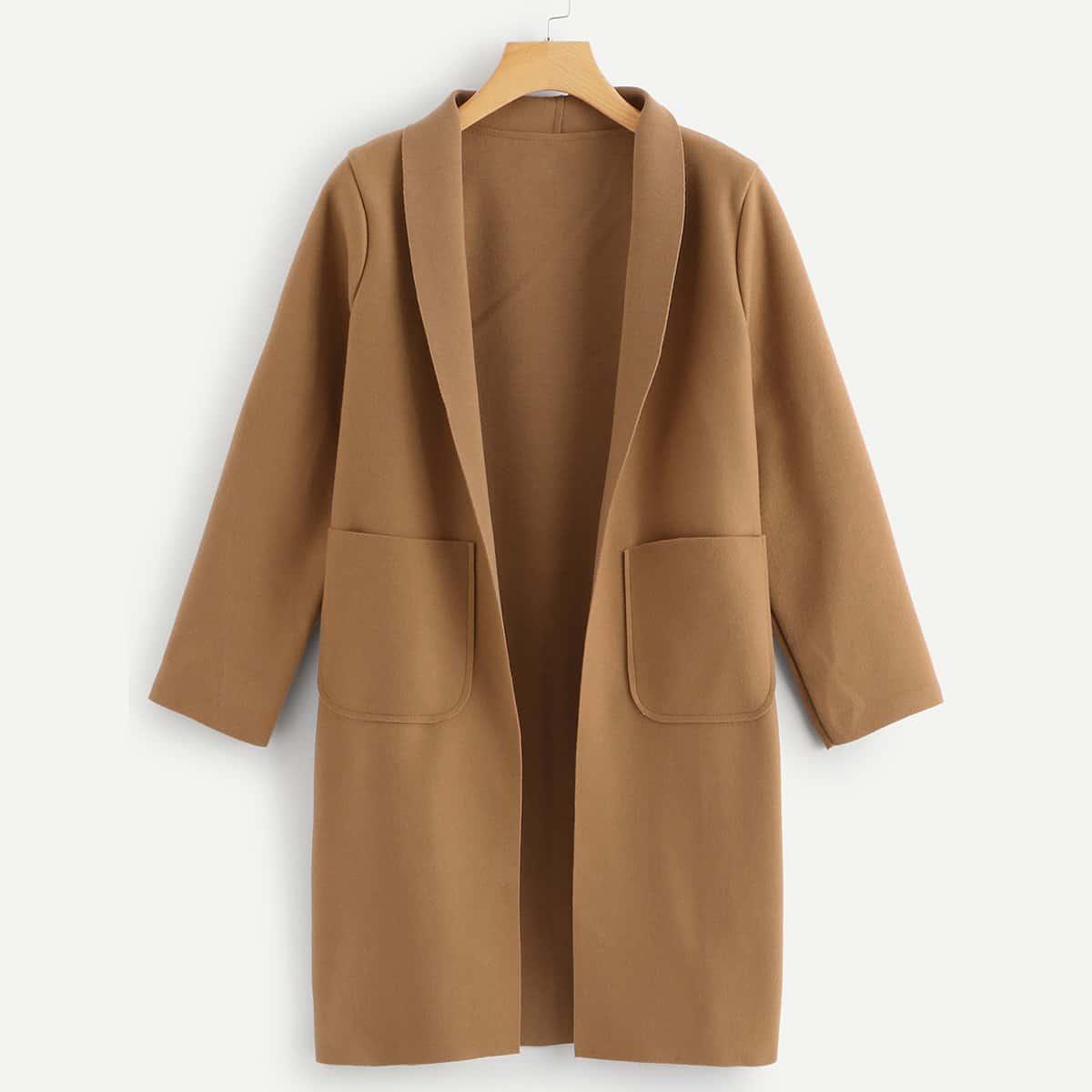 Shawl Collar Dual Pockets Overcoat