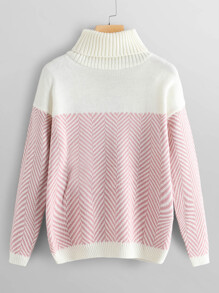 High Neck Drop Shoulder Sweater