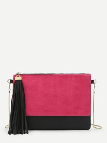 Tassel Detail Color-block Clutch With Chain