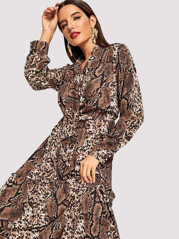 ad0e5aa68492 Snakeskin Print Tie Neck Maxi Dress | SHEIN