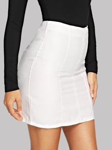 Zipper Up Solid Skirt