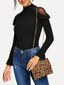 Leopard Pattern Flap Chain Crossbody Bag