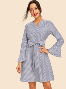 Half Placket Tie Waist Striped Dress