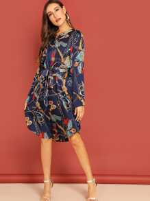 Chain Print Curved Hem Belted Shirt Dress