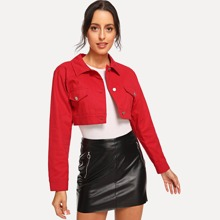 Red Casual Cotton 100% Plain Button Fabric has no stretch Fall Jackets, size features are:Length: Crop,
