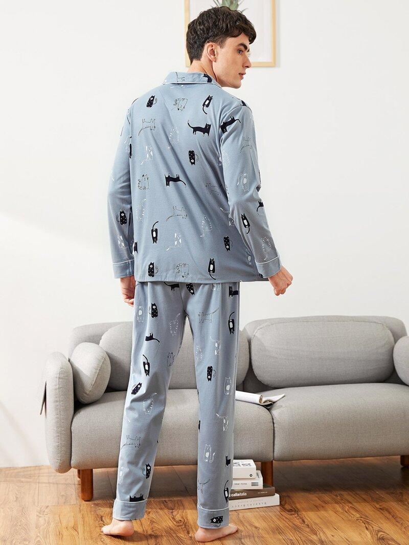 e2b5d1f41 Conjunto de pijama de hombres con botón con estampado de gato