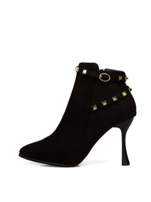 Studded Decor Side Zip Suede Boots
