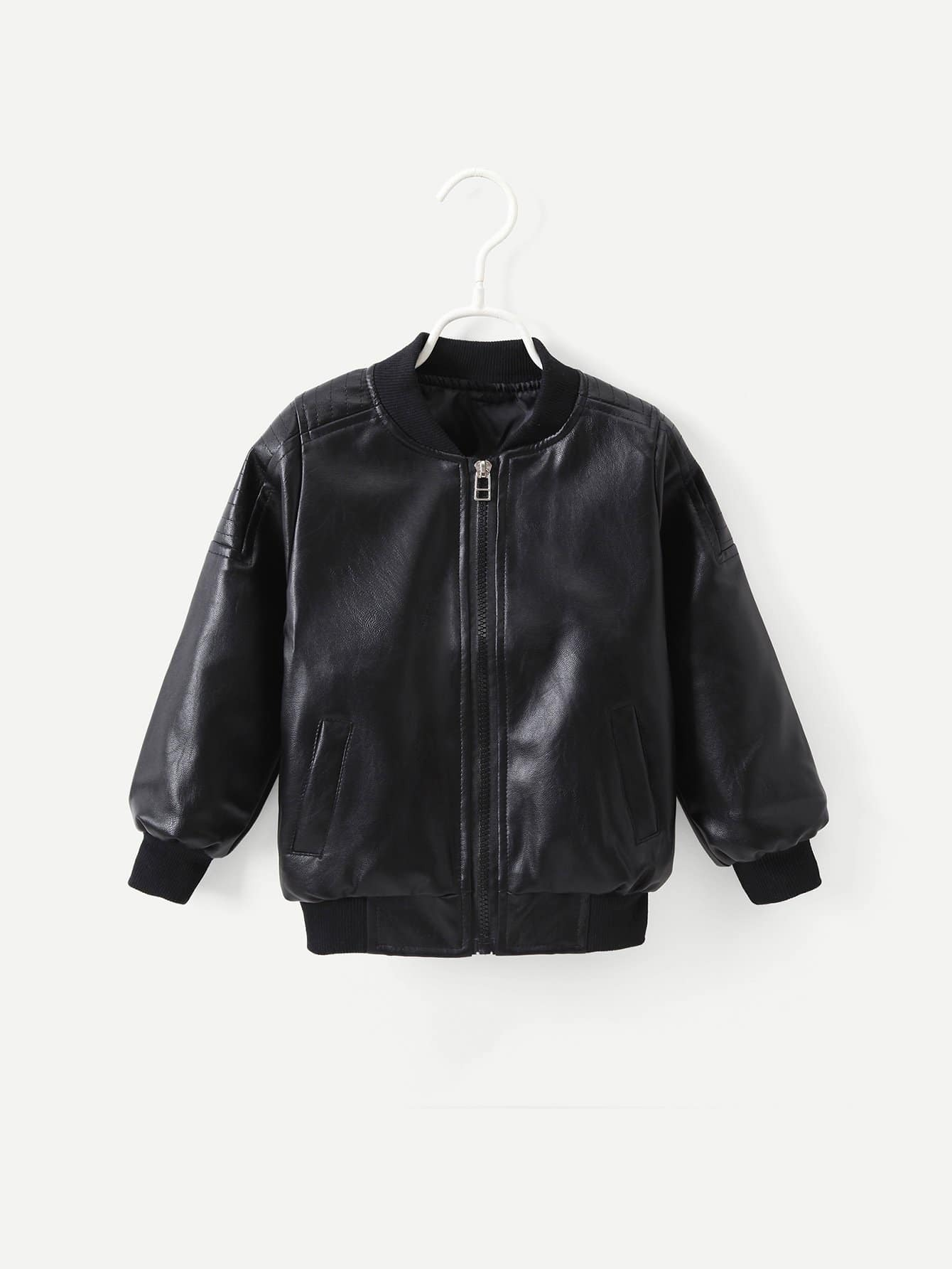 Toddler Boys Solid Faux Leather Jacket Romwe