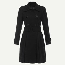 Double Breasted Self Tie Waist Outerwear