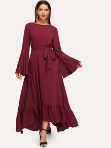 Waist Belted Ruffle Hem Bell Sleeve Dress