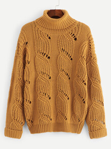 Plus Turtle Neck Eyelet Jumper