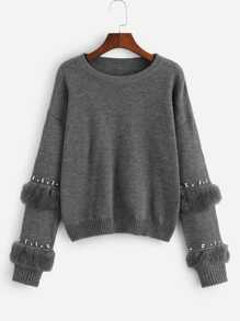 Plus Pearl Beading Faux Fur Detail Jumper