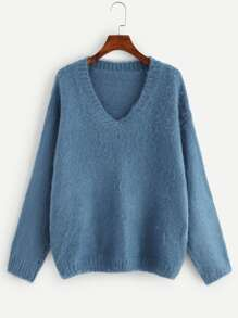 Plus V-Neck Fuzzy Jumper