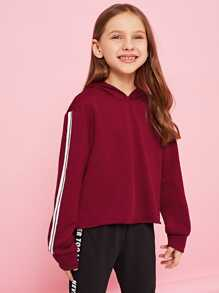 Girls Tape Side Crop Hoodie