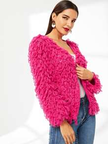 Neon Pink Loop Knit Open Front Cardigan