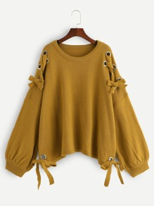 Plus Lantern Sleeve Grommet Lace Up Sweater