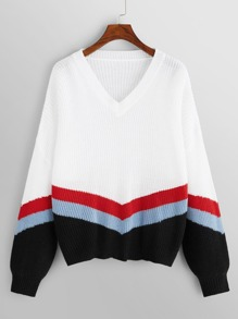 Color Block Chevron Stripe Sweater