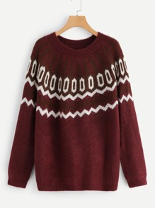 Raglan Sleeve Geo Sweater