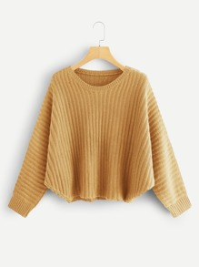 Solid Rib Knit Asymmetrical Hem Sweater