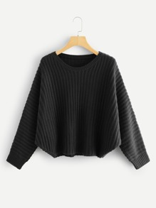 Plus Solid Rib Knit Asymmetrical Hem Sweater