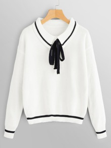 Bow Front Striped Trim Sweater