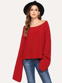 Boat Neck Bell Sleeve Sweater