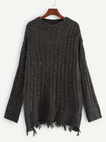 Plus Ripped Detail Eyelet Jumper