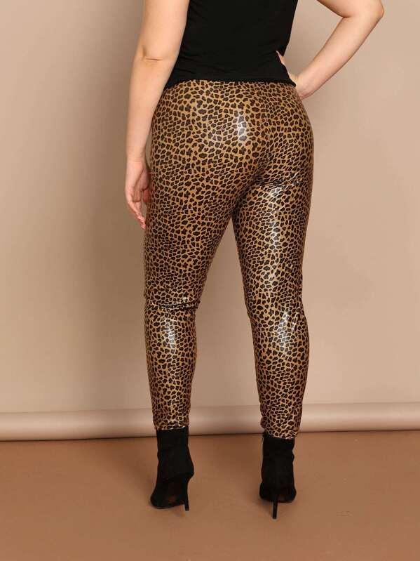 925fd6f16e3eda Leopard Print Stretch Skinny Coated Leggings   SHEIN