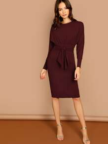 Dolman Sleeve Waist Tie Knee Length Dress