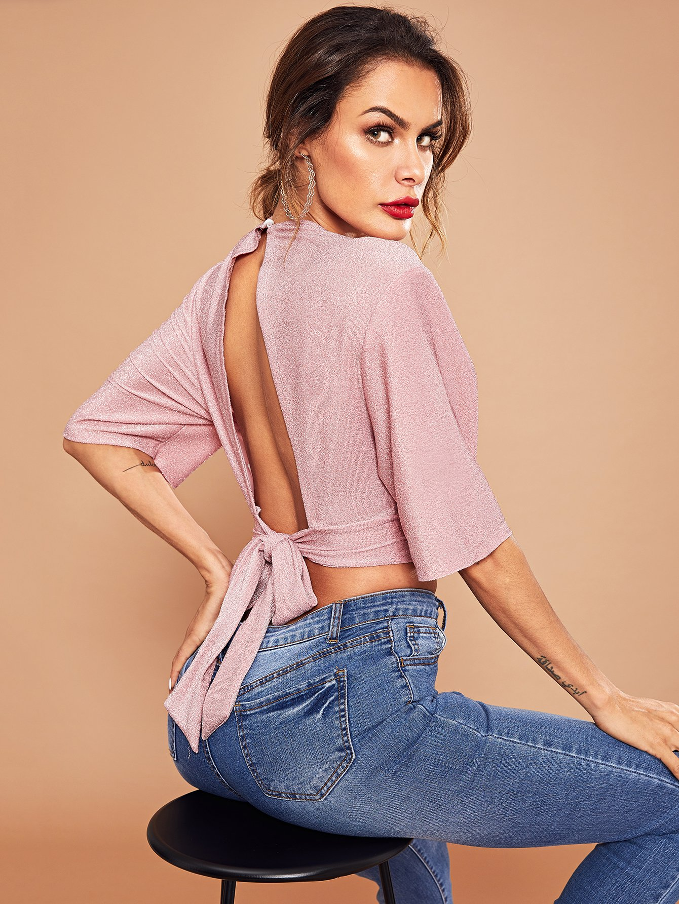 tied back top tied back crop glitter top shein 8134