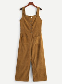 Double Pocket Button Corduroy Overalls