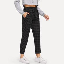 INOpets.com Anything for Pets Parents & Their Pets Self Tie Plaid Crop Pants