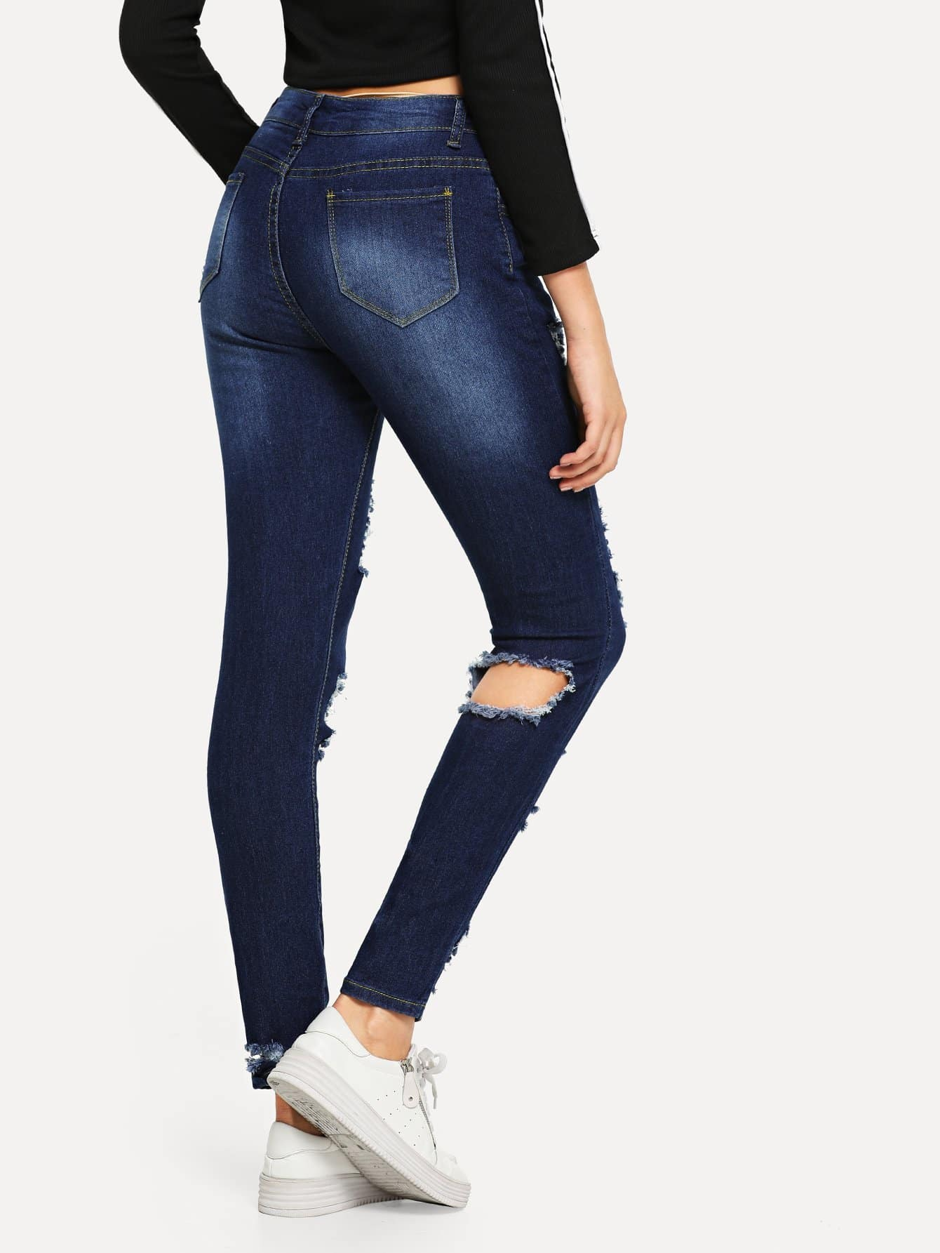 zerrissene schmale jeans shein. Black Bedroom Furniture Sets. Home Design Ideas