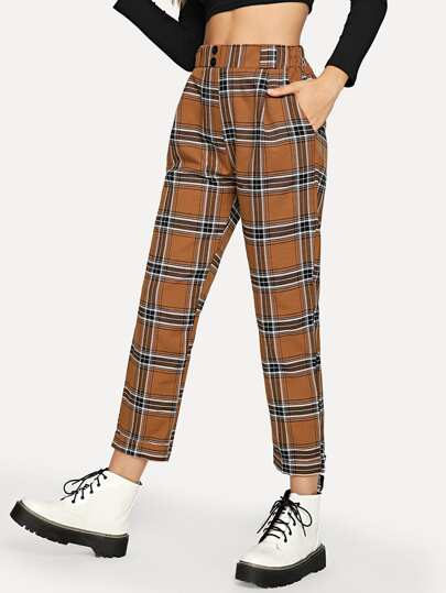 Button Waist Plaid Pants