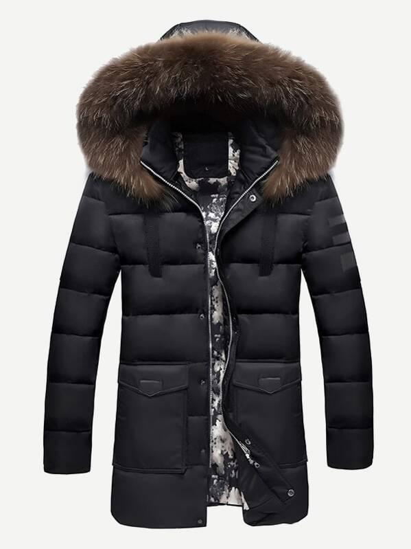 de2da44318 Men Contrast Tape Solid Hooded Puffer Coat