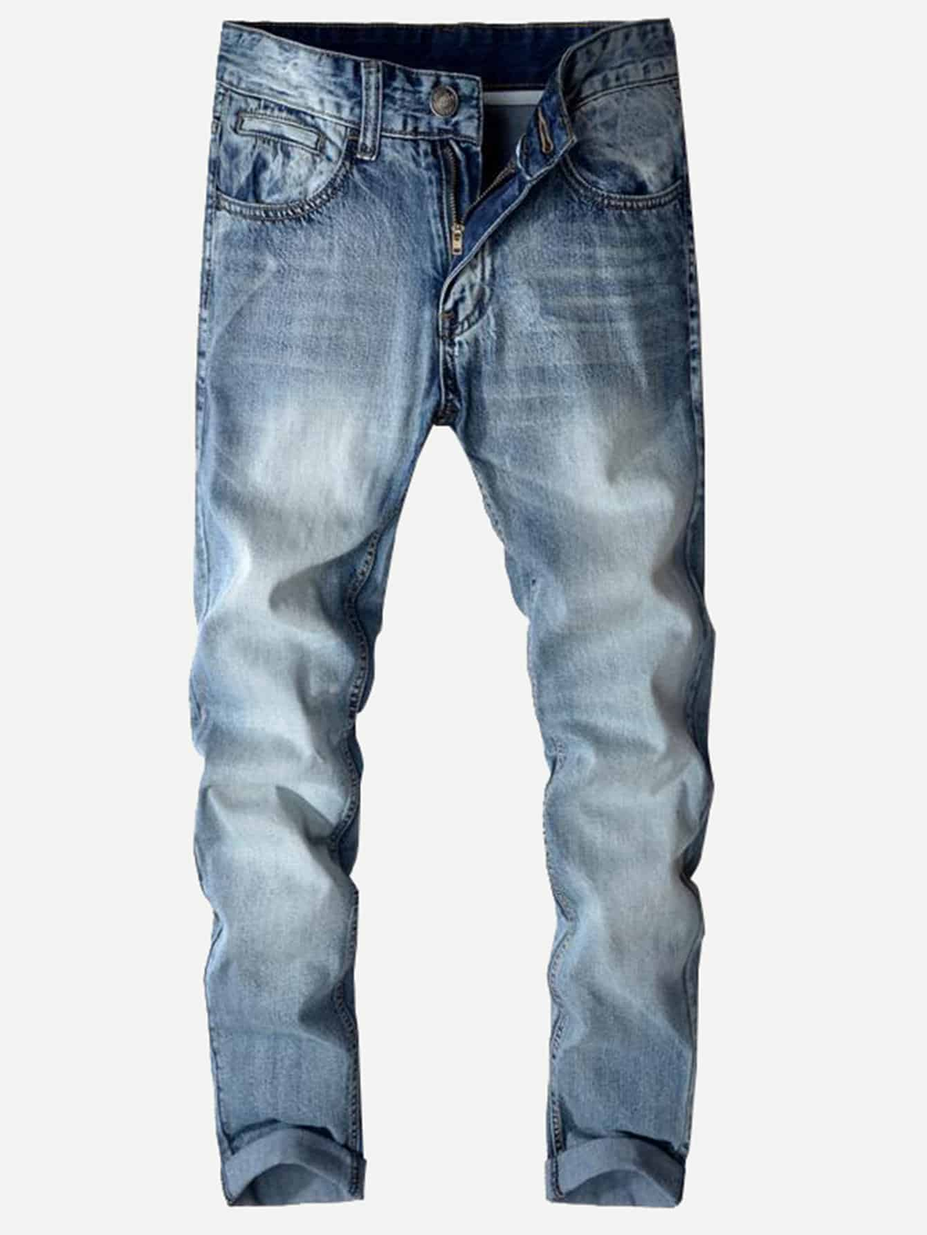 Men Straight Wash Jeans Men Straight Wash Jeans