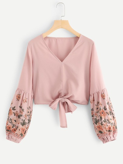 Floral Bishop Sleeve Knot Hem Blouse
