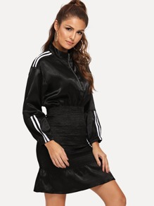 Quarter Zip Striped Ruched Dress