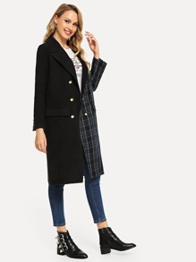 Double Breasted Plaid Tweed Coat