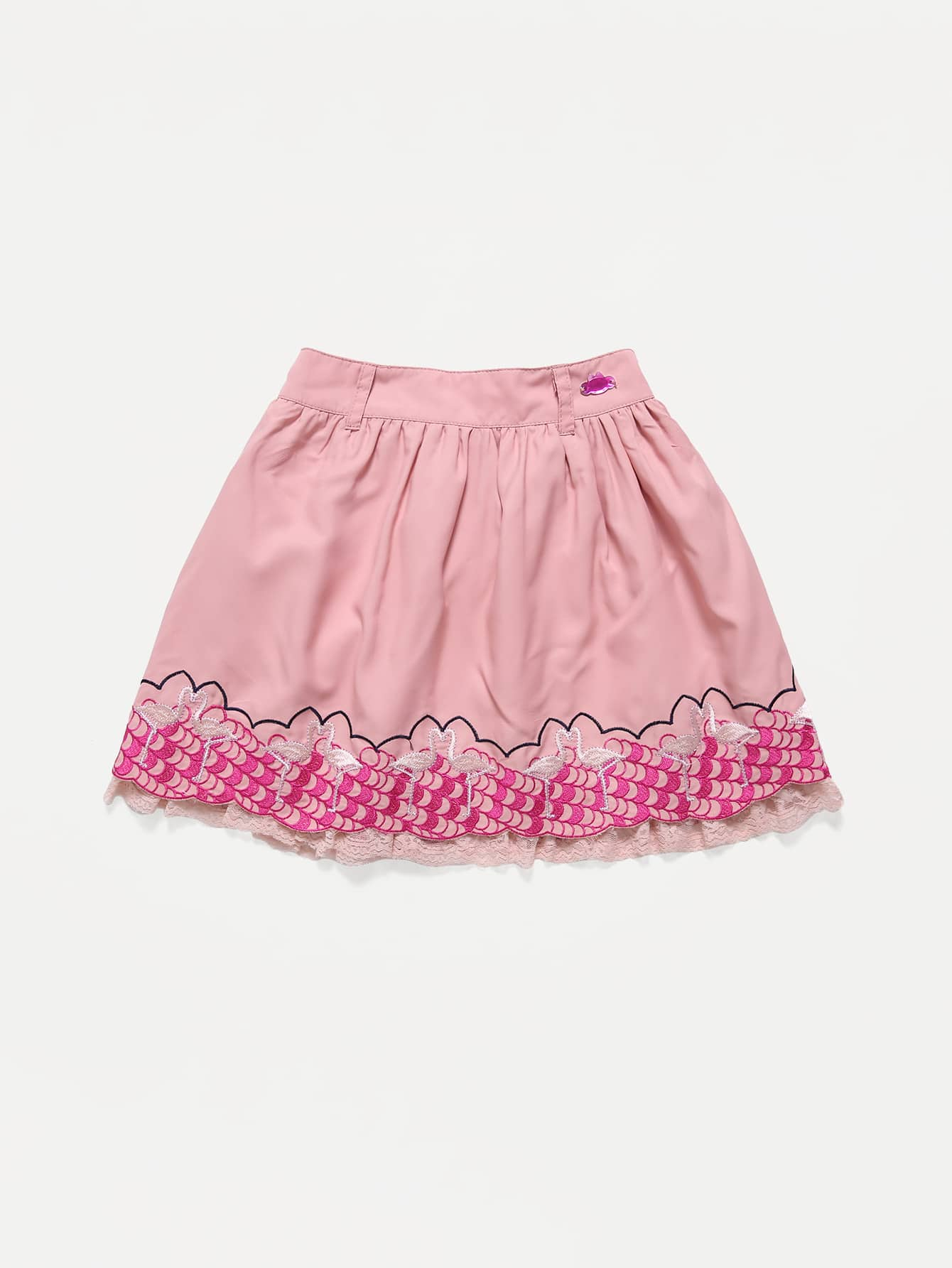 Toddler Girls Flamingo Embroidered Lace Trim Skirt Toddler Girls Flamingo Embroidered Lace Trim Skirt