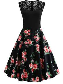 50s Contrast Lace Floral Print Dress