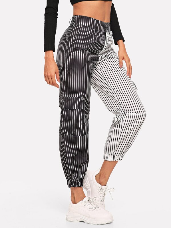 2b7dabf0bbae Contrast Panel Striped Trousers   SHEIN UK