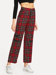 Plaid Zip Decoration Pants