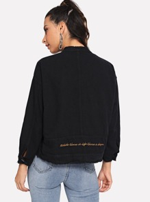 Drop Shoulder Raw Hem Letter Embroidered Denim Jacket