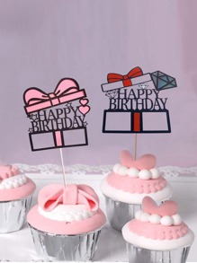 Gift Birthday Cake Topper Decoration 2pcs