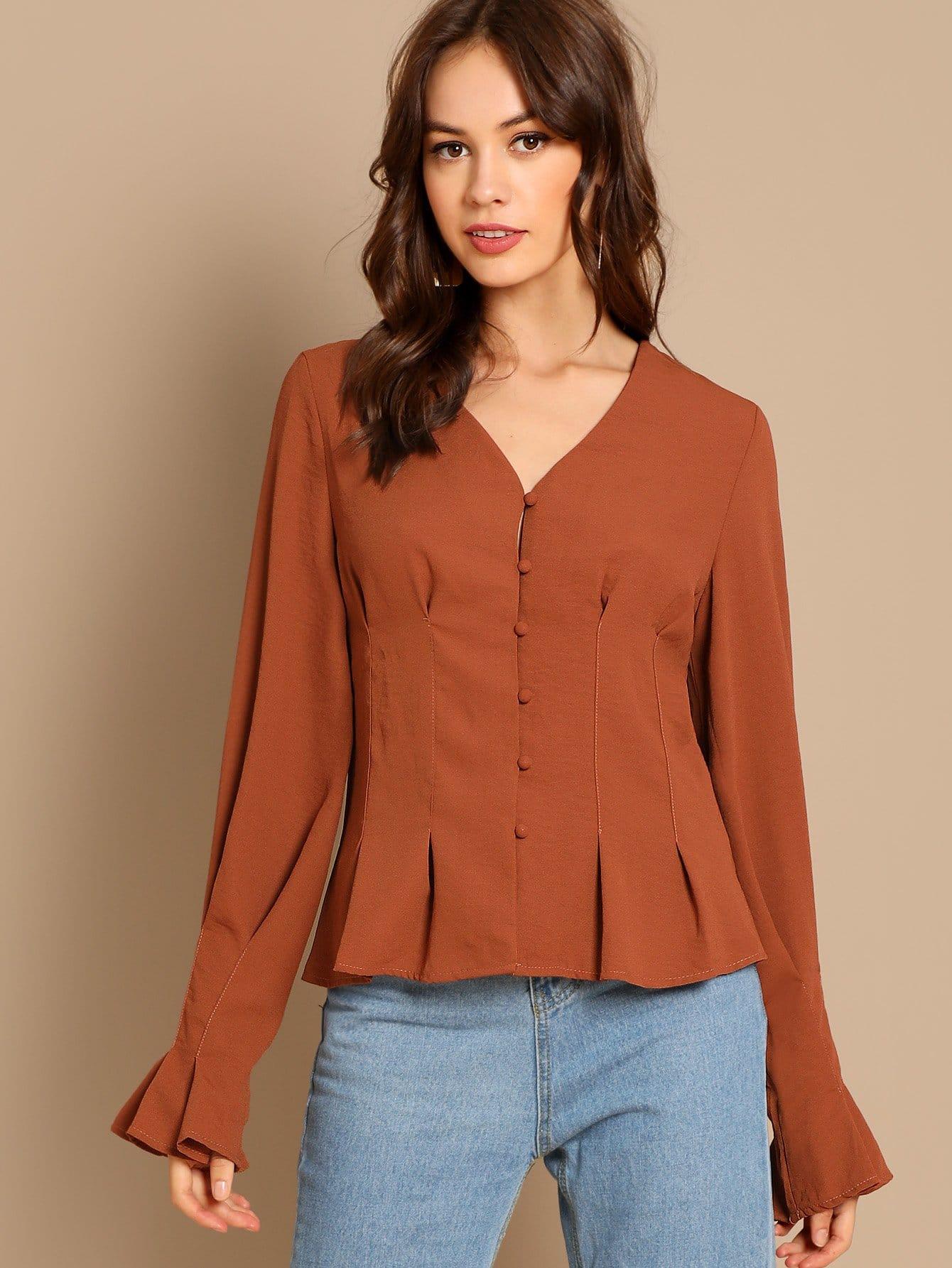 SHEINButton Up Peplum Shirt